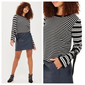 Topshop Striped Bell Sleeve buckle Sweater 4